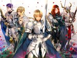 1girl 4boys armor astarone bedivere cape fate/grand_order fate_(series) full_armor gauntlets gawain_(fate/extra) green_eyes helmet holding holding_sword holding_weapon horns knight knights_of_the_round_table_(fate) lancelot_(fate/grand_order) long_hair multiple_boys pauldrons petals purple_hair red_hair saber_of_red sword tristan_(fate/grand_order) weapon