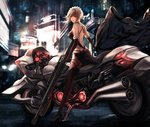 1girl artoria_pendragon_(all) back black_dress black_footwear black_legwear black_ribbon blonde_hair blurry breasts city depth_of_field detached_sleeves dress fate/grand_order fate/stay_night fate_(series) floating_hair ground_vehicle gun high_heels holding holding_gun holding_jacket holding_weapon jacket long_hair looking_at_viewer looking_back medium_breasts motor_vehicle motorcycle night outdoors parted_lips rain ribbon rifle saber_alter scenery shoulder_blades sitting solo straddling thighhighs weapon yellow_eyes yuzuriha