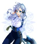 1girl axe blue_eyes blue_pants braid corset french_braid frilled_shirt frills hair_ornament long_hair looking_at_viewer okeno_kamoku original pants pointy_ears shirt silver_hair smile solo tight tight_pants underbust white_shirt wind