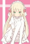 1girl blonde_hair dress gosick gothic_lolita green_eyes lolita_fashion pantyhose shuuichi_(gothics) solo victorica_de_blois white_legwear
