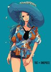 1girl arm_at_side ascot black_eyes black_neckwear black_shorts blouse blue_background blue_hair breasts copyright_name cowboy_shot flat_color flower grey_eyes hat hat_flower head_tilt highres large_breasts large_hat long_hair looking_at_viewer multicolored multicolored_clothes nefertari_vivi one_piece parted_lips petals puffy_short_sleeves puffy_sleeves sherumaru_(korcht06) short_shorts short_sleeves shorts signature simple_background smile solo teeth tilted_headwear