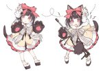 1girl :o animal_ears blush bow brown_hair dog_ears dog_girl dog_tail dress fang fur-trimmed_hood fur_trim girls_frontline gloves gun hair_bow hands_up head_tilt hood hood_down hooded_dress lightning_bolt looking_at_viewer m99_(girls_frontline) object_namesake open_mouth parted_lips paw_gloves paws platform_footwear purple_eyes red_bow shoes simple_background solo standing striped striped_bow tail tsuka weapon white_background white_footwear yellow_dress zijiang_m99