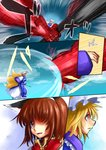 2girls animal_ears battle blonde_hair brown_hair cat_ears cat_teaser chen comic crying dress fang fox_tail hair_over_one_eye hat long_sleeves multiple_girls oni open_mouth pillow_hat red_oni silent_comic tabard tail touhou ura_(05131) white_dress wide_sleeves yakumo_ran yellow_eyes