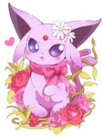azuma_minatsu blue_eyes blush bow espeon fang flower heart looking_at_viewer no_humans open_mouth pink_bow pink_flower pink_rose pokemon pokemon_(creature) red_flower red_rose rose simple_background sparkle white_background