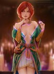 1girl artist_name belt blurry braid breasts bridal_gauntlets candle cleavage daria_leonova depth_of_field dress finger_to_mouth green_eyes hair_ornament highres jewelry magic necklace patreon_username pouch red_hair side_braid solo the_witcher the_witcher_3 tiara triss_merigold