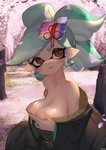 1girl artist_name bare_shoulders blush breast_lift breasts cherry_blossoms commentary earrings hair_ornament highres hotaru_(splatoon) japanese_clothes jewelry kashu_(hizake) kimono large_breasts light_green_hair looking_at_viewer open_mouth partially_undressed petals pointy_ears smile solo splatoon_(series) splatoon_2 tentacle_hair tree upper_body watermark yellow_eyes