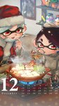 +_+ 2girls :d aori_(splatoon) belt_buckle black_belt black_hair bowl buckle cabbage calendar chopsticks commentary_request controller cooking cousins cup december domino_mask drinking drinking_glass earrings face_mask fire food grey_sweater hat highres holding hotaru_(splatoon) indoors inkling_(language) jar jewelry kashu_(hizake) kotatsu long_sleeves looking_away looking_down mask mask_pull mole mole_under_eye monster_girl multiple_girls nabe number open_mouth photo_(object) plant pointy_ears portable_stove potted_plant red_eyes remote_control santa_costume santa_hat shelf shiny shiny_hair short_eyebrows short_hair shrimp shrimp_tempura silver_hair smile splatoon splatoon_1 spring_onion steam table tempura tentacle_hair tofu
