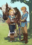 1boy 1girl :d belt black_gloves black_pants blonde_hair blue_eyes blue_shirt blue_sky blush boots braid brown_eyes brown_footwear brown_gloves brown_hair brown_pants closed_mouth corset crown_braid day field fingerless_gloves forehead full_body gloves grass green_eyes highres holding holding_sword holding_weapon horse knee_boots layered_sleeves legs_together link long_hair long_sleeves low_ponytail mane master_sword open_mouth outdoors outstretched_arms pants pointy_ears princess_zelda profile shade sheath sheathed shiny shiny_hair shirt side_slit sidelocks signature sky smile standing straight_hair sword the_legend_of_zelda the_legend_of_zelda:_breath_of_the_wild tight tight_pants tree triforce tugo two-handed very_long_hair weapon