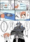 1boy 2girls :d ^_^ armor black_cloak black_legwear black_shirt black_skirt blush boots box chaldea_uniform closed_eyes collared_shirt comic covering_mouth crying crystal eiri_(eirri) fate/grand_order fate_(series) fujimaru_ritsuka_(female) glasses glowing glowing_eyes hair_over_one_eye hands_on_hilt happy_tears heart holding hood hood_down hoodie horns in_box in_container jacket king_hassan_(fate/grand_order) knee_boots long_sleeves mash_kyrielight multiple_girls necktie nose_blush object_hug open_clothes open_hoodie open_mouth pantyhose purple_hair red_neckwear saint_quartz shirt skirt skull smile spikes streaming_tears sweat sword tears ticket translation_request trembling weapon white_footwear white_hoodie white_jacket