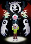 1boy artist_request asriel_dreemurr crying dual_persona heart monster_boy shirt spoilers striped striped_shirt sweater undertale
