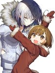 1boy 1girl accelerator ahoge albino brown_eyes brown_hair commentary_request fur-trimmed_jacket fur_trim hand_in_pocket highres jacket last_order looking_at_viewer mittens open_mouth red_eyes red_jacket simple_background smile tdob_mk2 to_aru_majutsu_no_index upper_body white_background white_hair white_jacket