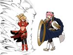 1boy 1girl anger_vein armor astolfo_(fate) bare_shoulders black_legwear blonde_hair boots braid cape clenched_teeth covering_ears detached_sleeves fate/apocrypha fate/grand_order fate_(series) full_body fur-trimmed_cape fur_trim gauntlets grimace hair_ribbon holding holding_instrument horn_(instrument) instrument la_black_luna meme mordred_(fate) mordred_(fate)_(all) music navel no_eyes otoko_no_ko pelvic_curtain pink_hair playing_instrument ponytail red_footwear ribbon shockwave short_hair simple_background standing strapless teeth thighhighs toritora trumpet_boy tuba tubetop walking white_background white_cape white_footwear wind  _ 