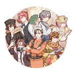 6+boys absurdres ahoge animal_ears black_coat black_headwear black_neckwear brown_eyes brown_hair camera character_request closed_eyes code:realize copyright_request cravat crossed_arms diabolik_lovers earrings formal gloves goggles goggles_on_head green_eyes grey_eyes grey_hair hair_between_eyes hat hedgehog highres hirakawa_daisuke japanese_clothes jewelry jojo_no_kimyou_na_bouken kakyouin_noriaki licking_lips long_hair long_sleeves looking_at_viewer mio_rin multiple_boys necktie pink_hair ponytail saint_germain_(code:realize) sakami_raito seiyuu_connection silver_hair simple_background smile stardust_crusaders straw_hat tongs tongue tongue_out vest white_vest