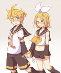 1boy 1girl aqua_eyes arm_tattoo bare_shoulders blonde_hair blush bow brother_and_sister crop_top detached_sleeves embarrassed hair_bow hair_ornament hairclip headphones headset holding_hands incest kagamine_len kagamine_rin leg_warmers looking_at_another midriff navel necktie nervous number_tattoo reki_(arequa) sailor_collar short_hair short_ponytail shorts siblings sweat sweatdrop tattoo trembling twincest twins vibrator_under_clothes vocaloid
