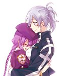 2girls beret between_breasts blush bracelet braid breasts commentary_request crying hat head_between_breasts height_difference hug jacket jewelry large_breasts long_hair melty_blood multiple_girls ponytail purple_hair riesbyfe_stridberg silver_hair single_braid sion_eltnam_atlasia six_(fnrptal1010) smile tears tsukihime turtleneck very_long_hair