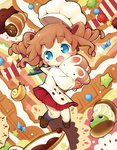 1girl :d aikei_ake bangs blue_bow blue_eyes blue_legwear blush bow bread brown_footwear brown_gloves brown_hair bunny checkered checkered_gloves chef_hat chocolate_cornet commentary_request eyebrows_visible_through_hair food gloves hat head_tilt highres kneehighs loafers long_sleeves object_hug open_mouth original pleated_skirt puffy_long_sleeves puffy_sleeves red_skirt ringlets sailor_collar school_uniform serafuku shirt shoes skirt smile snail solo star unmoving_pattern white_headwear white_sailor_collar white_shirt