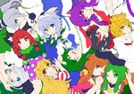 6+girls :3 :o :q ;) ;d american_flag_dress animal_ear_fluff animal_ears arm_up bangs black_bow black_hair black_hairband black_hat black_ribbon blonde_hair blouse blue_dress blue_eyes blue_neckwear blue_skirt bob_cut bow braid breasts brown_hair bunny_ears cat_ears clownpiece collarbone commentary_request covering_mouth dress eyebrows_visible_through_hair flat_color frog_hair_ornament green_bow green_dress green_eyes green_hair green_ribbon green_vest grey_background hair_between_eyes hair_bow hair_ornament hair_ribbon hair_tubes hairband hands_up hat head_tilt highres holding_hands horns ishimu izayoi_sakuya jester_cap kaenbyou_rin kijin_seija kochiya_sanae konpaku_youmu large_breasts long_hair long_sleeves looking_at_viewer maid maid_headdress medium_breasts mononobe_no_futo multicolored_hair multiple_girls neck_ribbon neck_ruff necktie nishida_satono one_eye_closed open_mouth parted_lips pink_dress pink_eyes polka_dot_hat pom_pom_(clothes) ponytail profile puffy_short_sleeves puffy_sleeves purple_hair purple_hat purple_sash red_dress red_eyes red_hair red_neckwear red_sailor_collar reisen_udongein_inaba ribbon sailor_collar shirt short_hair short_hair_with_long_locks short_sleeves silver_hair simple_background single_sidelock skirt smile snake_hair_ornament streaked_hair striped striped_dress teireida_mai tongue tongue_out toramaru_shou touhou twin_braids twintails upper_body upside-down vest white_blouse white_dress white_hair white_shirt wide_sleeves wing_collar yellow_bow yellow_eyes
