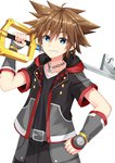 1boy arm_guards bangs belt belt_buckle black_jacket black_pants black_shirt blue_eyes brown_hair buckle chain collarbone commentary_request crown eyebrows_visible_through_hair grey_belt grin hair_between_eyes holding holding_key jacket key kingdom_hearts kingdom_hearts_iii komori_kuzuyu looking_at_viewer male_focus open_clothes open_jacket oversized_object pants shirt short_sleeves simple_background smile solo sora_(kingdom_hearts) white_background