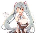 1girl 39 :d bare_shoulders black_sleeves blue_hair blue_neckwear character_name closed_eyes collared_shirt crossed_arms detached_sleeves floating_hair grey_shirt hair_between_eyes hatsune_miku highres holding holding_paper kagamirror02 long_hair long_sleeves necktie open_mouth paper shirt simple_background sleeveless sleeveless_shirt smile solo standing very_long_hair vocaloid white_background wing_collar