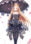1girl abigail_williams_(fate/grand_order) bangs bare_shoulders black_bow black_dress black_flower black_headwear black_legwear black_rose black_umbrella blonde_hair blue_eyes blush bow breasts closed_mouth collarbone dress dust9 eyebrows_visible_through_hair fate/grand_order fate_(series) flower frilled_dress frills gothic_lolita hair_bow hat highres holding holding_umbrella juliet_sleeves lolita_fashion long_hair long_sleeves looking_at_viewer multiple_hair_bows orange_bow pantyhose parted_bangs petals pleated_dress puffy_sleeves rose see-through signature small_breasts solo strapless strapless_dress umbrella very_long_hair white_background