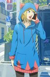 1girl animal_ears blonde_hair blue_eyes building cat_ears cellphone erica_lahaie fake_animal_ears highres hood hoodie leaf light looking_to_the_side open_mouth original phone plant pocket road_sign sidewalk sign signature smartphone solo sweater traffic_light translation_request