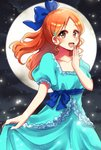 1girl :d alternate_hairstyle bleach blue_bow blue_dress blue_ribbon blush bow brown_eyes collarbone covering_mouth dress full_moon hair_bow hand_over_own_mouth inoue_orihime long_hair looking_at_viewer moon open_mouth ponytail rei_no_himo ribbon short_sleeves skirt_hold smile solo standing umi_(pixiv6861961)