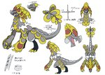 absurdres artist_request claws dragon gen_7_pokemon grey_skin highres kommo-o official_art pokemon pokemon_(creature) pokemon_(game) pokemon_sm reference_sheet scales scan tail