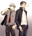 2boys black_hair cigarette cosplay costume_switch doujima_ryoutarou doujima_ryoutarou_(cosplay) facial_hair grey_hair jacket jacket_over_shoulder male_focus multiple_boys narukami_yuu narukami_yuu_(cosplay) necktie open_clothes open_jacket persona persona_4 saeuchobab smoking stubble