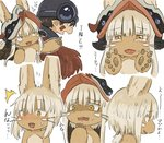 1boy 1other ambiguous_gender animal_ears brown_eyes brown_hair crying crying_with_eyes_open expressions eyebrows_visible_through_hair furry helmet highres kawasemi27 looking_at_viewer looking_away made_in_abyss multiple_views nanachi_(made_in_abyss) open_mouth regu_(made_in_abyss) short_hair sweatdrop tail tears teeth translation_request whiskers white_hair