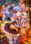 1girl blue_hair blush bow brown_eyes closed_mouth crescent crescent_hair_ornament drill_hair eyebrows_visible_through_hair fake_horns fake_wings hair_ornament halloween holding holding_stuffed_animal horns jack-o'-lantern long_hair looking_at_viewer nail_polish official_art orange_bow pisuke purple_legwear red_nails smile solo soul_reverse_zero striped striped_legwear stuffed_animal stuffed_toy thighhighs twin_drills white_legwear wings