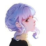1girl blue_hair braid closed_mouth crown_braid fire_emblem fire_emblem:_three_houses from_side looking_at_viewer lyra-kotto marianne_von_edmund portrait red_eyes sidelocks sideways_glance simple_background solo tied_hair