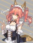 1girl animal_ears breasts caster_(fate/extra) chokoan_(tyokoa4649) fate/extella fate/extra fate/grand_order fate_(series) fox_ears fox_girl fox_tail long_hair looking_at_viewer maid maid_headdress pink_hair solo tail twintails v yellow_eyes