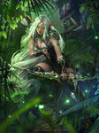1girl >:| amulet archer_pose archery armband armlet arrow boots bow_(weapon) breasts bush cleavage closed_mouth collar copyright_name dagger dated elf eyebrows fingernails forest full_body glowing grass green_eyes highres jewelry kisuny_park large_breasts leaf legend_of_the_cryptids lips long_eyebrows long_hair looking_at_viewer nature necklace orc outdoors plant pointy_ears quiver sheath solo spaulders squatting thigh_boots thighhighs thighlet tiara watermark weapon white_hair