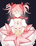 1girl black_background bubble_skirt choker closed_eyes commentary cupping_hands eyebrows_visible_through_hair flat_chest frilled_skirt frills gloves glowing hair_ribbon kaname_madoka magical_girl mahou_shoujo_madoka_magica pink_hair pink_neckwear pink_ribbon puffy_short_sleeves puffy_sleeves ribbon ribbon_choker short_hair short_sleeves short_twintails simple_background skirt smile solo soul_gem standing twintails upper_body white_gloves yo-sa_(13014948)