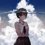 1girl air_bubble bangs black_hair black_skirt blue_eyes blue_neckwear blush breasts bubble cloud cloudy_sky collared_shirt commentary_request cowboy_shot day dress_shirt eyebrows_visible_through_hair hand_on_own_chest highres kisui_(user_wswf3235) long_sleeves looking_at_viewer medium_breasts necktie original parted_lips pleated_skirt school_swimsuit shirt short_hair skirt sky solo striped striped_neckwear submerged swimsuit tearing_up tears underwater water_surface white_shirt wing_collar