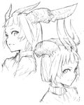 2girls asymmetrical_horns closed_mouth greyscale horns jaco looking_at_viewer monochrome multiple_girls original parted_lips shirt short_hair simple_background sketch smile white_background