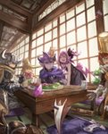2boys 3girls :d >_< armor blonde_hair blue_eyes brown_hair character_request controller cup dinner fangs good green_eyes hat highres horns indoors july_(shichigatsu) looking_at_viewer mug multiple_boys multiple_girls musume open_mouth pillow purple_hair sitting smile sweat table v weapon witch_hat yellow_eyes yuusha_no_kuse_ni_namaiki_da