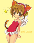 1girl animal_ears bad_id bad_pixiv_id brown_eyes brown_hair cat_ears cat_tail di_gi_charat guchurimu_genrishugi highres leotard puchiko red_leotard solo star tail wings