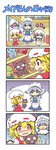 3girls 4koma apron ascot blonde_hair blue_eyes blush braid closed_eyes colonel_aki comic commentary doll dress flandre_scarlet hair_between_eyes hand_on_hip hand_up hat head heart izayoi_sakuya lavender_hair maid maid_apron maid_headdress mob_cap multiple_girls open_mouth popuko red_eyes remilia_scarlet shaking silver_hair skirt smile stuffed_animal stuffed_toy tears touhou translated trembling twin_braids wings