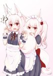 !? 2girls animal_ear_fluff animal_ears apron artist_request commentary_request covering_face fox_ears fox_tail maid maid_apron maid_dress maid_headdress multiple_girls original red_eyes startled tail tail_grab white_hair