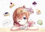 1girl ;q absurdres bangs blueberry bow cake cake_hair_ornament chin_rest commentary_request dated eyebrows_visible_through_hair food food_request food_themed_hair_ornament fork fruit gloves gochuumon_wa_usagi_desu_ka? hair_between_eyes hair_bow hair_ornament head_tilt highres hoto_cocoa light_brown_hair looking_at_viewer medium_hair neki_(wakiko) one_eye_closed orange polka_dot polka_dot_background puffy_short_sleeves puffy_sleeves purple_eyes red_bow short_sleeves solo speech_bubble strawberry strawberry_shortcake tongue tongue_out twitter_username white_gloves