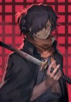 1boy black_hair blood bloody_weapon commentary_request facial_hair fate/grand_order fate_(series) grin hair_over_one_eye highres japanese_clothes katana kimono lack okada_izou_(fate) orange_eyes ponytail scarf smile stubble sword weapon