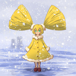 1girl alteigramme blonde_hair commentary cooling_tower english_commentary glowing glowing_eyes green_eyes highres nuclear_powerplant original personification powerplant radiation radiation_symbol radioactive short_twintails snow snowing solo twintails winter winter_clothes yellow_theme