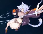 1girl absurdres animal_ear_fluff animal_ears blue_hair breasts cat_ears cat_tail commentary commentary_request eyebrows_visible_through_hair facial_scar fur_trim groin highres large_breasts navel orange_eyes ribbed_sweater ryota_tentei scar scar_on_cheek short_hair short_shorts shorts solo sweater sweatshirt tail tora_tentei