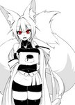 1girl :d absurdres animal_ear_fluff animal_ears bag bare_shoulders bell bike_shorts blush cowboy_shot detached_sleeves eyebrows_visible_through_hair fangs food fox_ears fox_girl fox_tail greyscale hair_between_eyes highres japanese_clothes jingle_bell large_tail long_hair looking_at_viewer low_ponytail monochrome open_mouth original pudding red_eyes sidelocks sign simple_background skindentation smile solo spot_color sub-res tail thighhighs very_long_hair white_background wide_sleeves