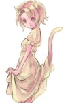 1girl animal_ears blonde_hair cat_ears dress lowres original pocchin solo tail yellow_eyes