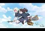 2girls :d bag blue_eyes blue_sky blush broom broom_riding brown_hair cloak cloud commentary_request day diana_cavendish full_body half-closed_eyes highres hug hug_from_behind kagari_atsuko little_witch_academia long_hair long_sleeves multiple_girls neck_ribbon official_art open_mouth ribbon school_uniform sidelocks sky smile sweatdrop takeda_naoki text white_hair witch yuri