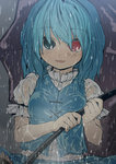 1girl :d blue_eyes blue_hair heterochromia karasawa-40 open_mouth rain red_eyes short_hair smile tatara_kogasa touhou umbrella wet wet_clothes