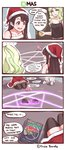 2girls 4koma artist_name black_hair black_legwear blue_eyes christmas comic demon diana_cavendish disco_brando dress duplicate english green_hair hat highres horns kagari_atsuko little_witch_academia long_hair magic_circle meme multiple_girls night pentagram red_dress red_eyes santa_costume santa_hat seiza sitting sleeveless slippers strap_slip summoning thighhighs walk-in yuri zettai_ryouiki