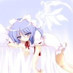 1girl alternate_wings blue_eyes blue_hair dress hair_ribbon half-closed_eyes lying mai_(touhou) naughty_face on_bed on_stomach ponytail puffy_short_sleeves puffy_sleeves ribbon short_hair short_sleeves smile solo touhou touhou_(pc-98) tsunogiri wings